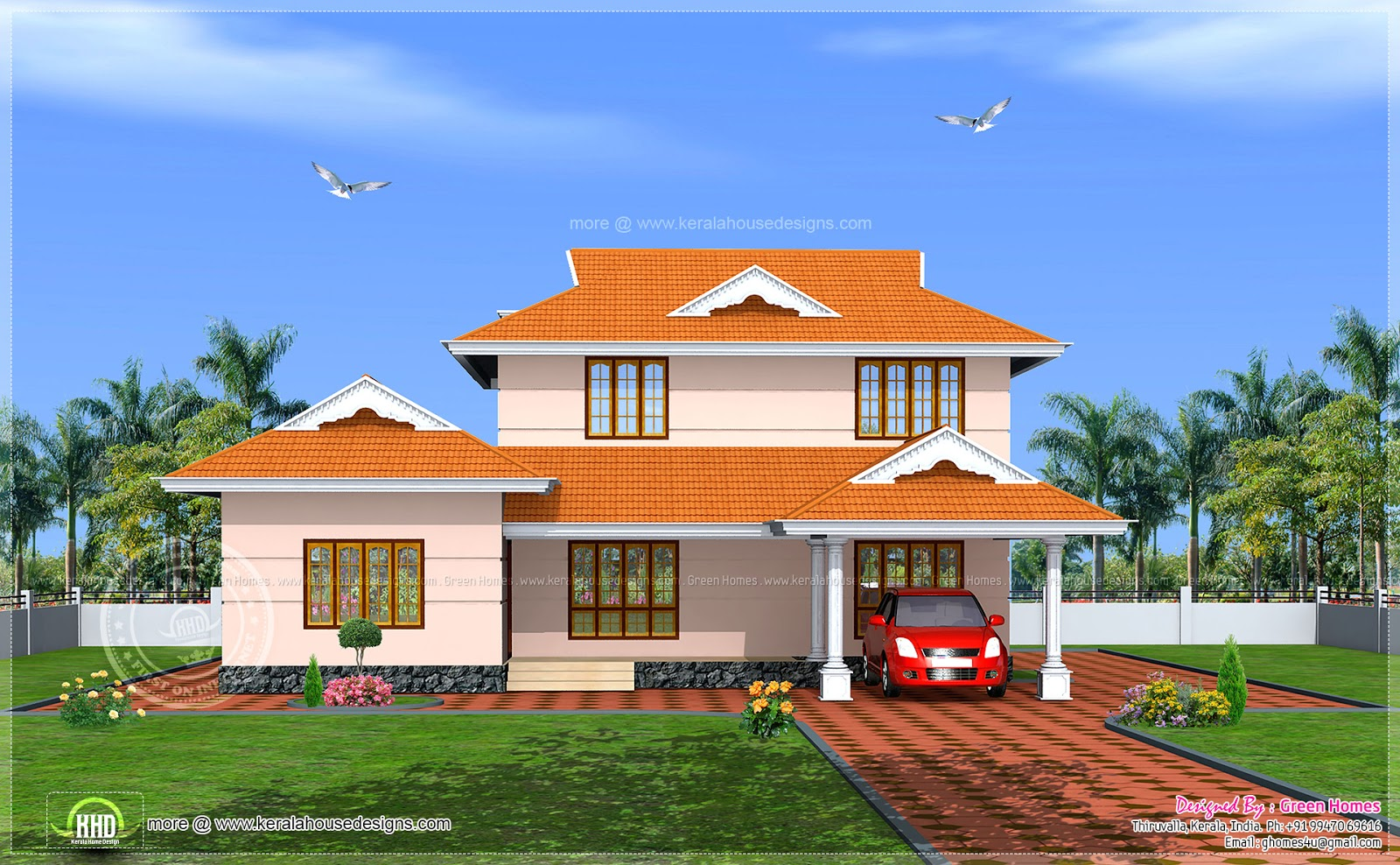 228 square meter Kerala model house exterior