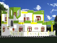 Foto de diseño de casa grande colorida verde amarillo