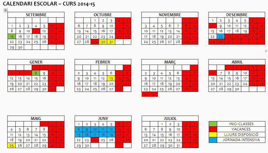 CALENDARI ESCOLAR 2014-2015