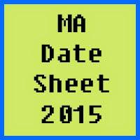 MA Date Sheet 2016 Part 1 and 2 Punjab University PU Lahore
