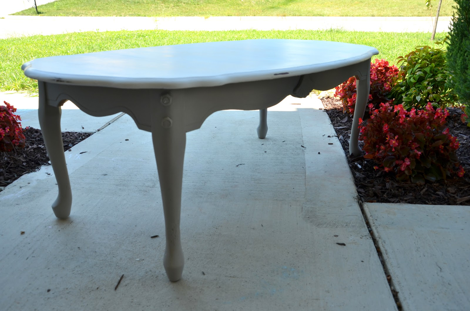The Painted Perch Gray And White Coffee Table