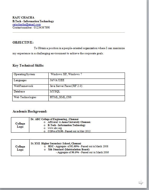 Download B Tech Freshers Resume Format in Word