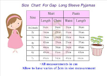 Size Chart For Gap Long Sleeve Pyjamas