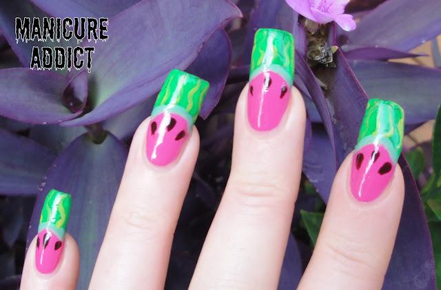 manicure addict watermelon nails