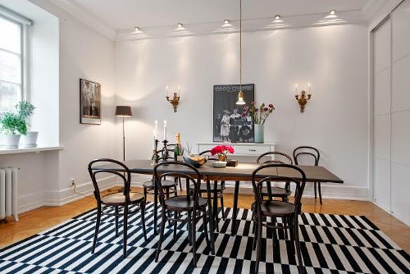 Apartamentos Decoracion Nordica ~ Una alfombra en un lugar grande como este comedor adem?s de enmarcar