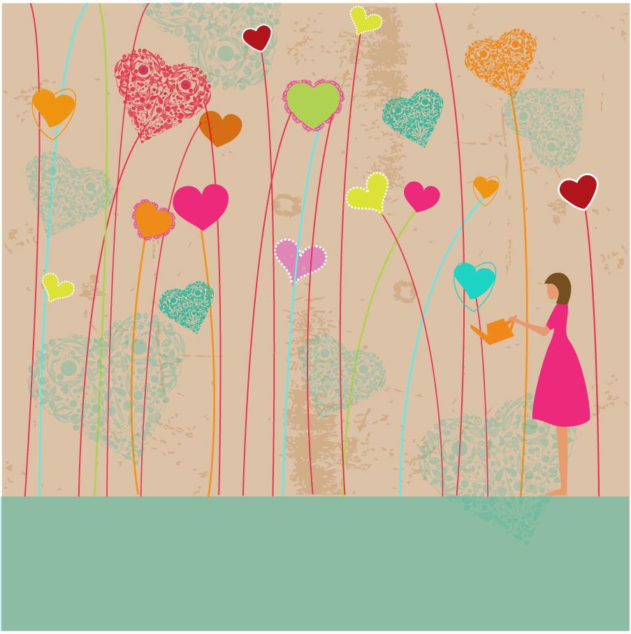 ハート型の植物を育てるクリップアート Heart Love garden イラスト素材