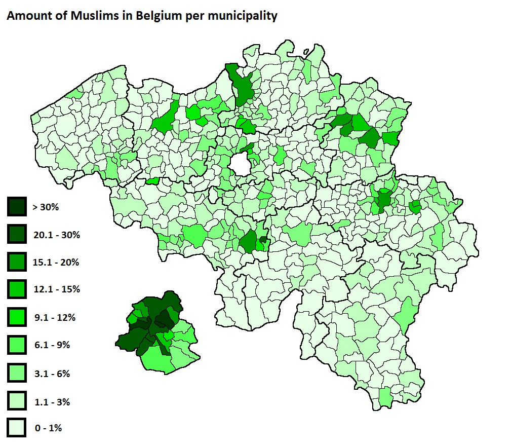 Amount of muslims in Belgium per municipality