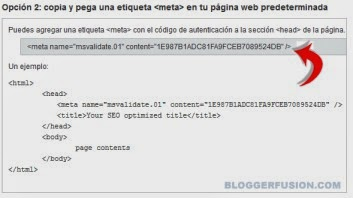 agregar meta-etiqueta bing en mi blog facilmente