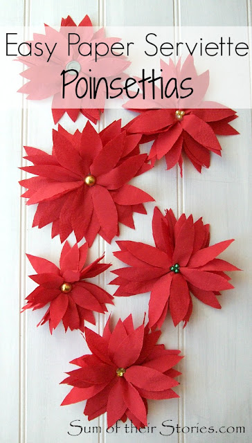 Easy paper napkin poinsettias