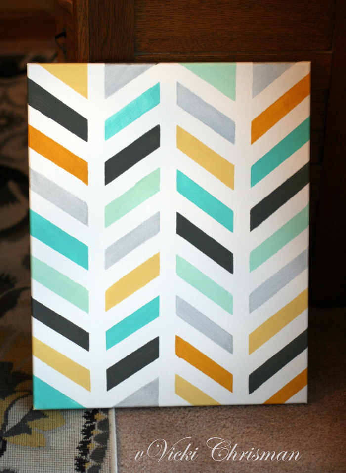 This art that makes me happy painted herringbone canvas for Tape painting on canvas