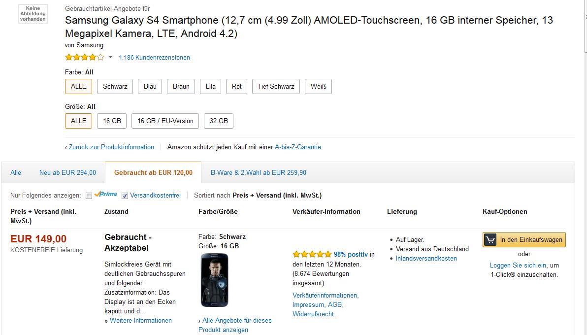 Amazon S4 gebraucht kaufen