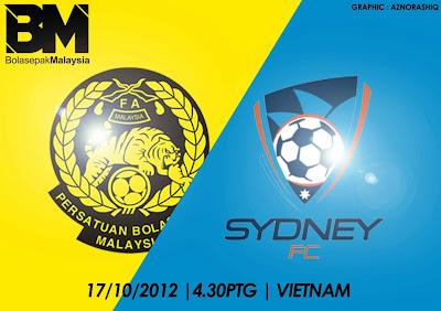 Keputusan Malaysia B21 vs Sydney FC B21 Piala Newspaper 17 Oktober 2012