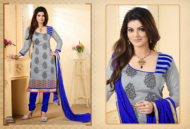 Indian Designer Festival Embroidered Chanderi cotton salwar kameez