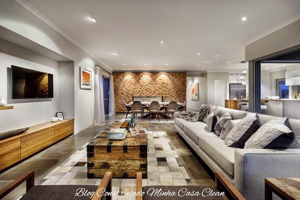 Sala de estar linda integrada a sala de jantar! Detalhe dos móveis de