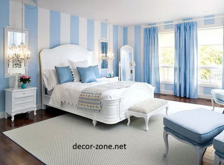 Blue bedroom ideas designs furniture accessories paint for Blue and white bedroom wallpaper