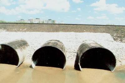 Batería de alcantarillas Metálicas circulares con protección de colchonetas