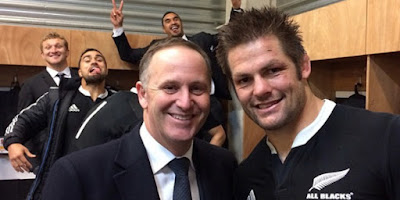 the apostle John Key with his holiness Richie McCaw