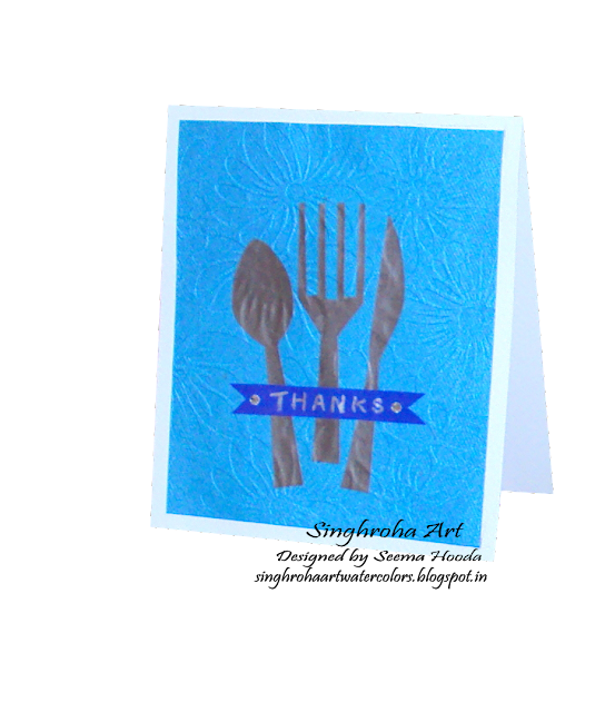 cardmaking, cards, colorthrowdown, creative, handmade, lifestyle, ‬bluecard,greetingcards, thankyoucard, thankscard, blue,cutlery,carddesign,eat, spoon