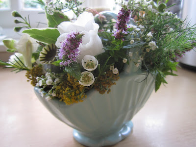 vintage blue ceramic basket with country posy