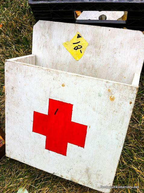 red cross painted box