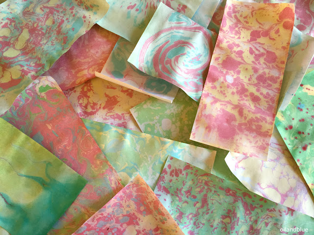 Paper Marbling with flour- no toxic chemicals or hard-to-find items, just craft paint, flour, and water!  from oil and blue blog