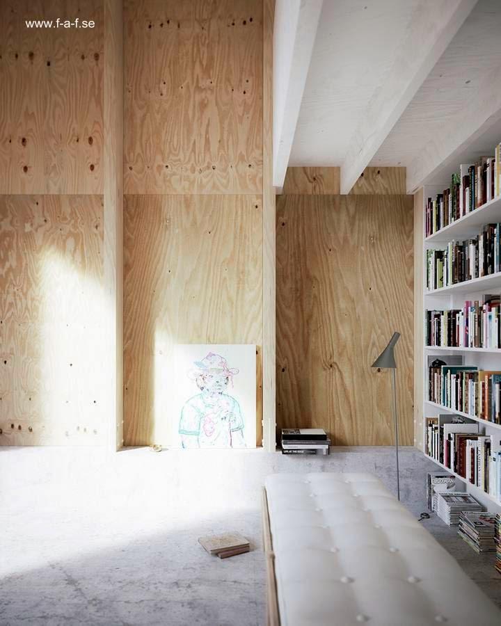 Interior del volumen dormitorio con estudio