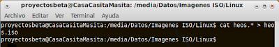 Imagen de un ejemplo de como juntar archivos con cat en la terminal