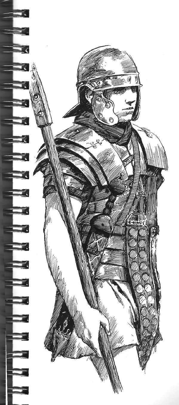 Warriors in art: Roman Soldier Sketch by Tony Warne