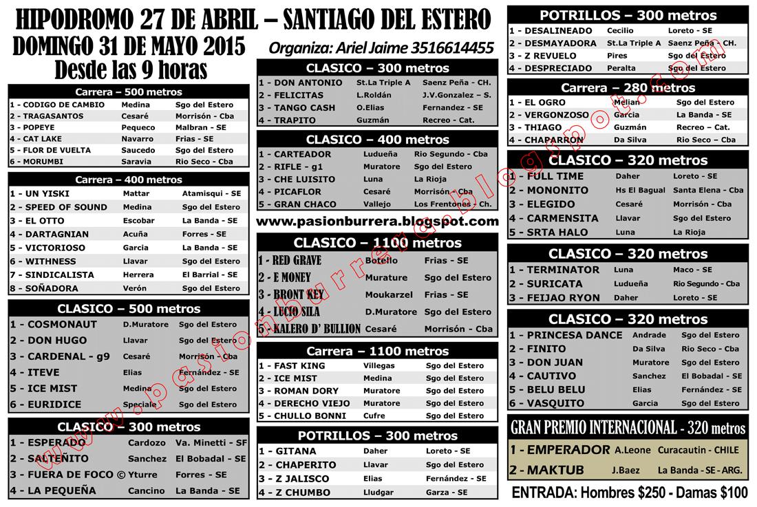 Hipodromo 27 de Abril - PROGRAMA
