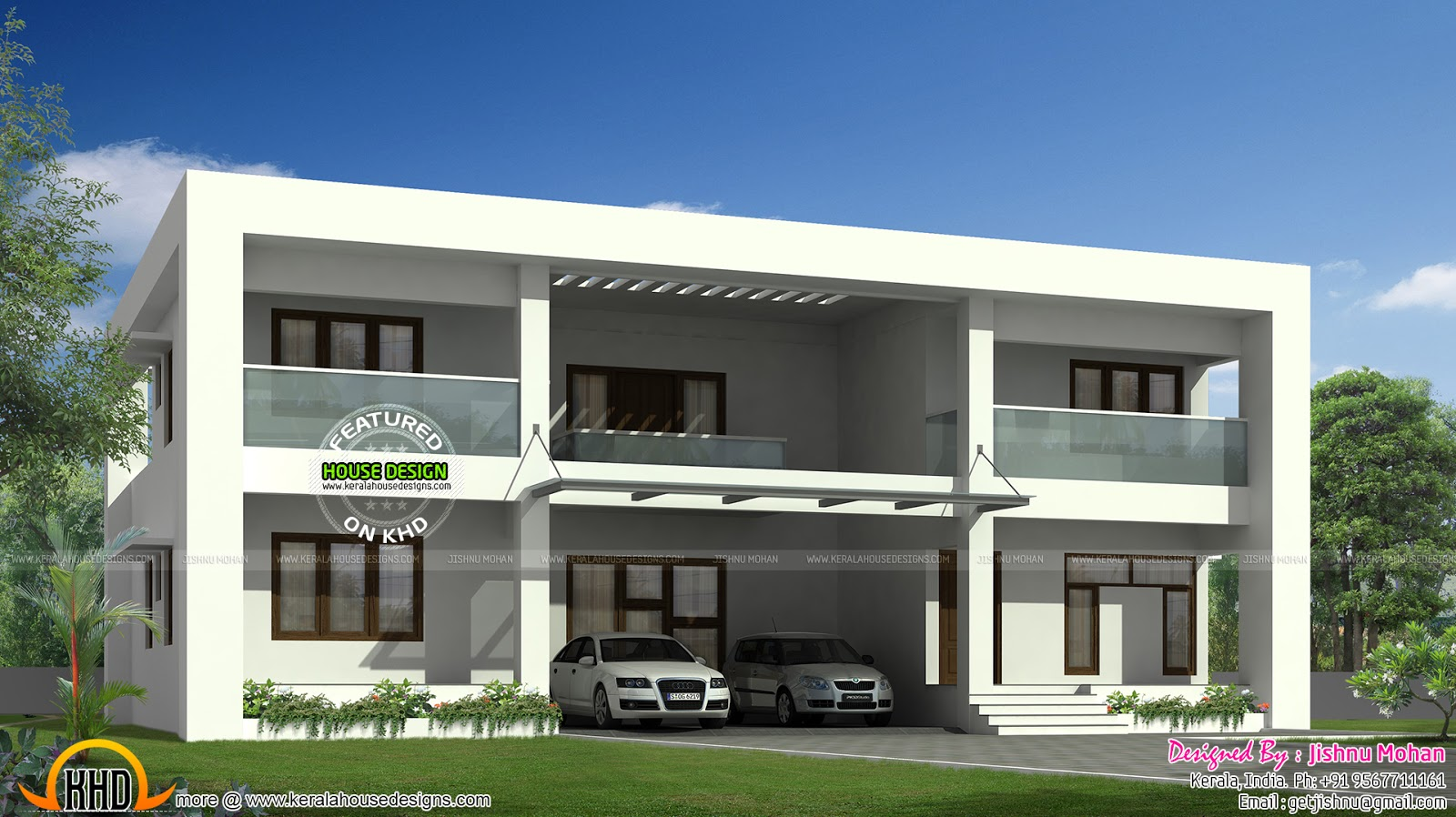Flat roof duplex style home kerala home design and floor - Flat roof home designs ...