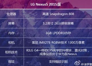 LG Nexus5 2015 Specs leaked