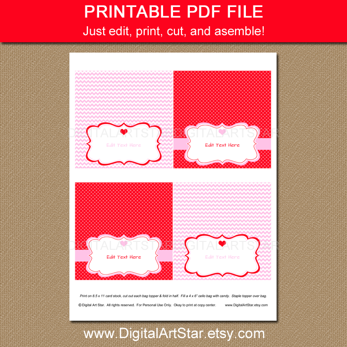 Editable Valentine's Day Pink and Red Bag Labels