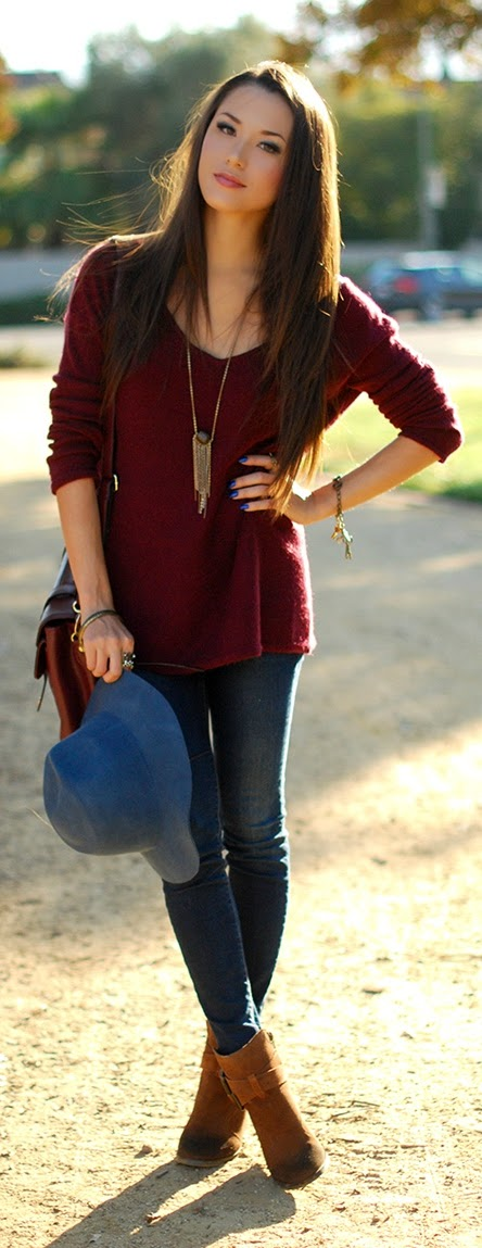 Burgundy V-Neck Off shoulder Sweater and Cognac Suede Booties | Spring Outfits