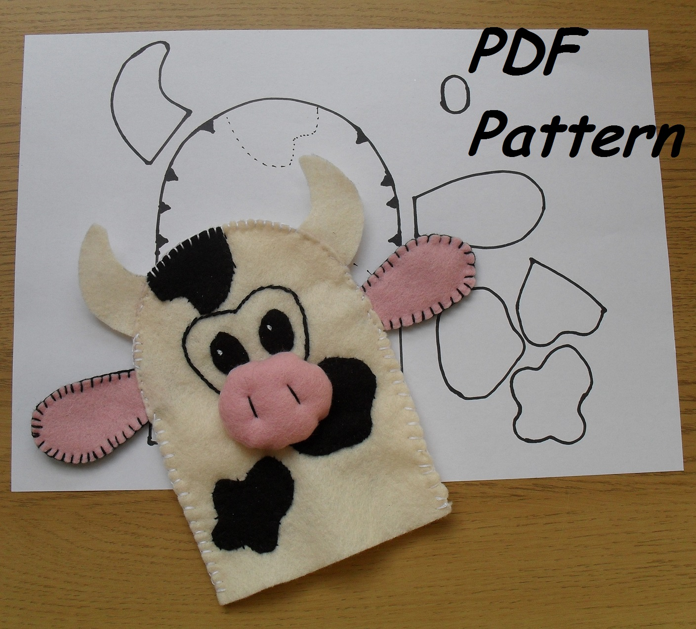 Custom golf headcovers and puppets cow hand puppet sewing pattern the cow is the second animal from my project old mcdonald farm sewing pattern so i am half way trough jeuxipadfo Images