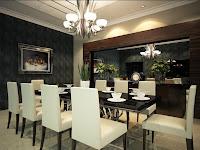Decoracion de living comedor moderno y elegante con mesa negra y sillas blancas. La elegante  lámpara también embellece el ambiente