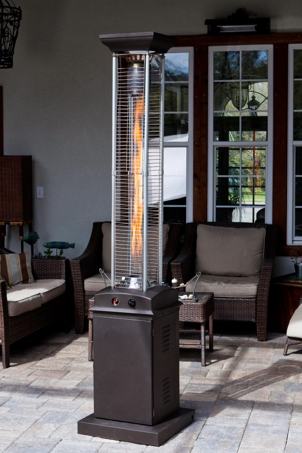 Mocha Pyramid Flame Patio Heater Golden Flame Quartz Glass Tube Pyramid  Style Patio Heater