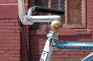 raleigh, bicycle, the biketorialist, biketorialist, single speed, fixed speed, fixie, blue , frame, tim macauley, timothy macauley, model, frame, paint job, Brooklyn, jay st, brooks, saddle, New York, NY, USA, bell, lug, lugging, headstem, headset