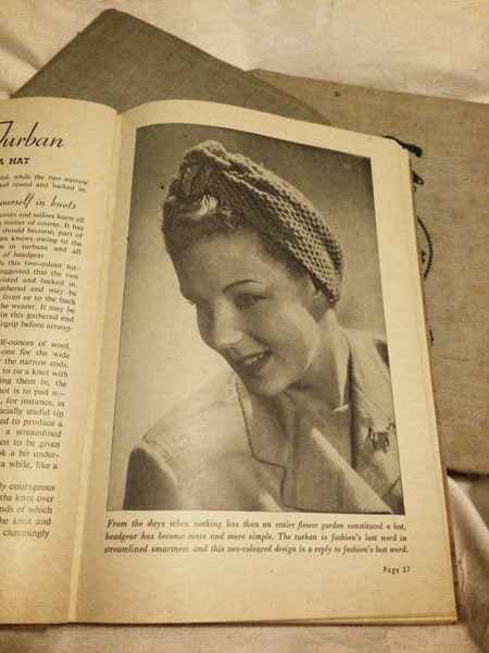 Knitted turban, Odhams knitting book, 1940s