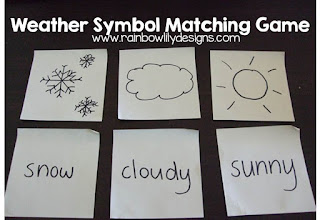 weather symbol matching game www.rainbowlilydesigns.com