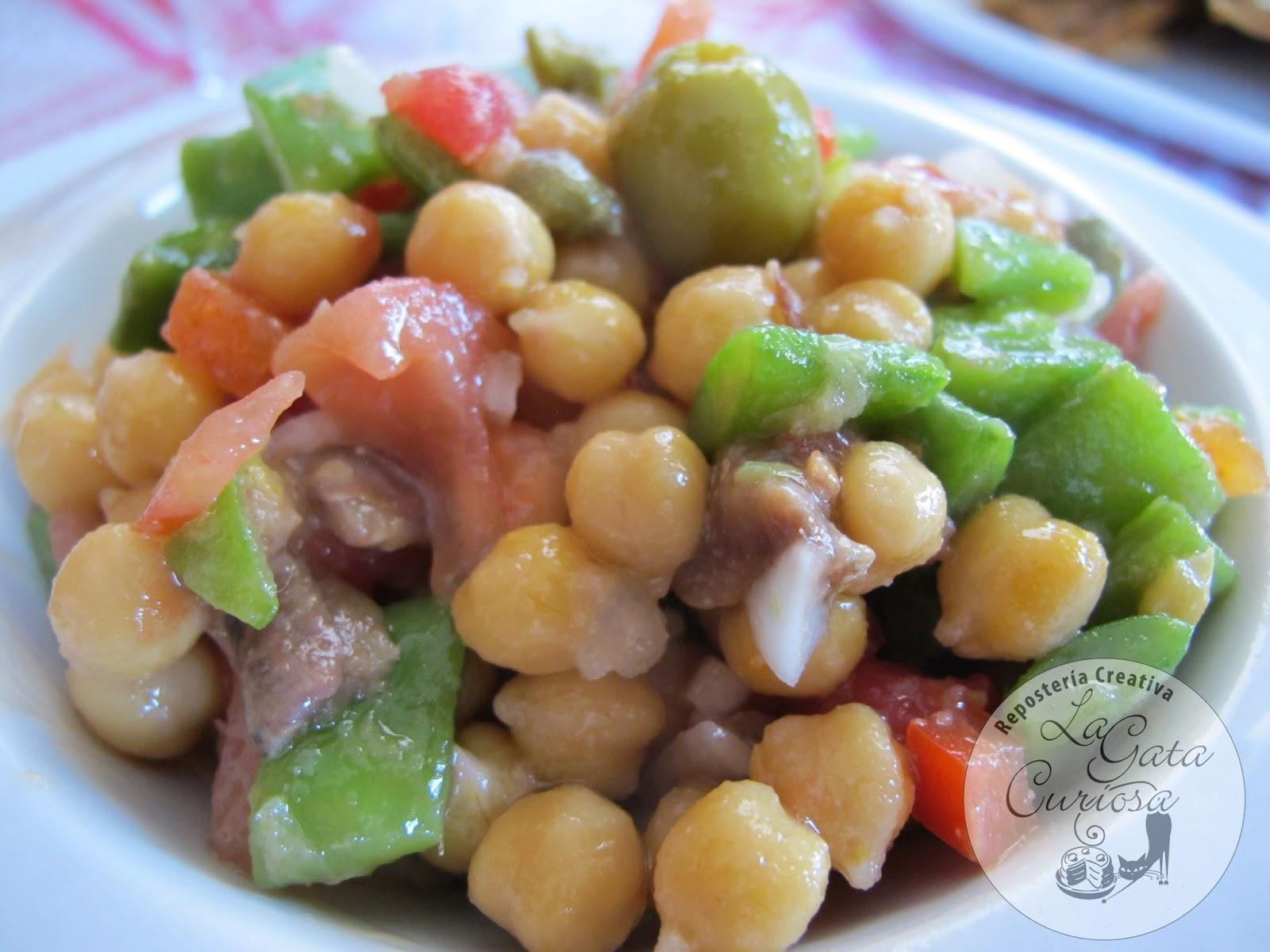 La gata curiosa ensalada de garbanzos y anchoas - Preparacion de garbanzos cocidos ...