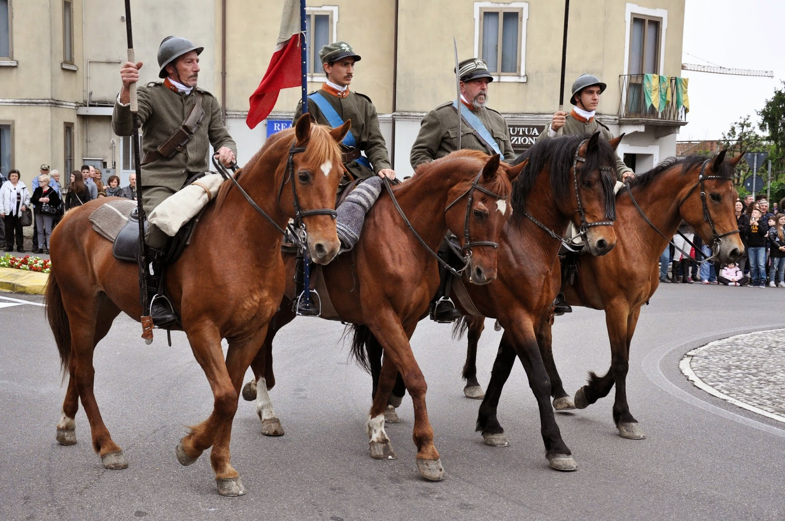 Soldiers on their horses at the Parade, Donkey Race, Romano d'Ezzelino, Veneto, Italy