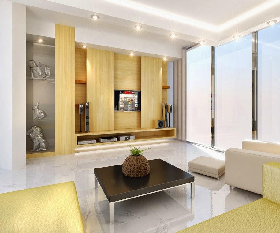 Ruang tamu dengan floating furniture dan focal point kayu