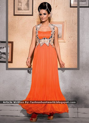 Beautiful Orange And Peach Georgette n Net Gown Designs