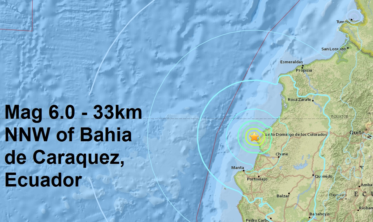 Another Mag 6.0 - NEAR THE COAST OF ECUADOR...The latest massive aftershock to strike the area