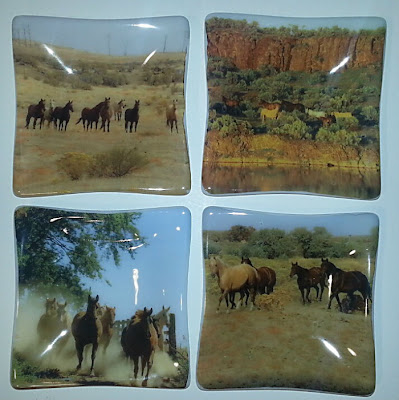 Sassy Glass Studio, Fusography, plates, horses, custom, one-of-a-kind fused glass art, gift
