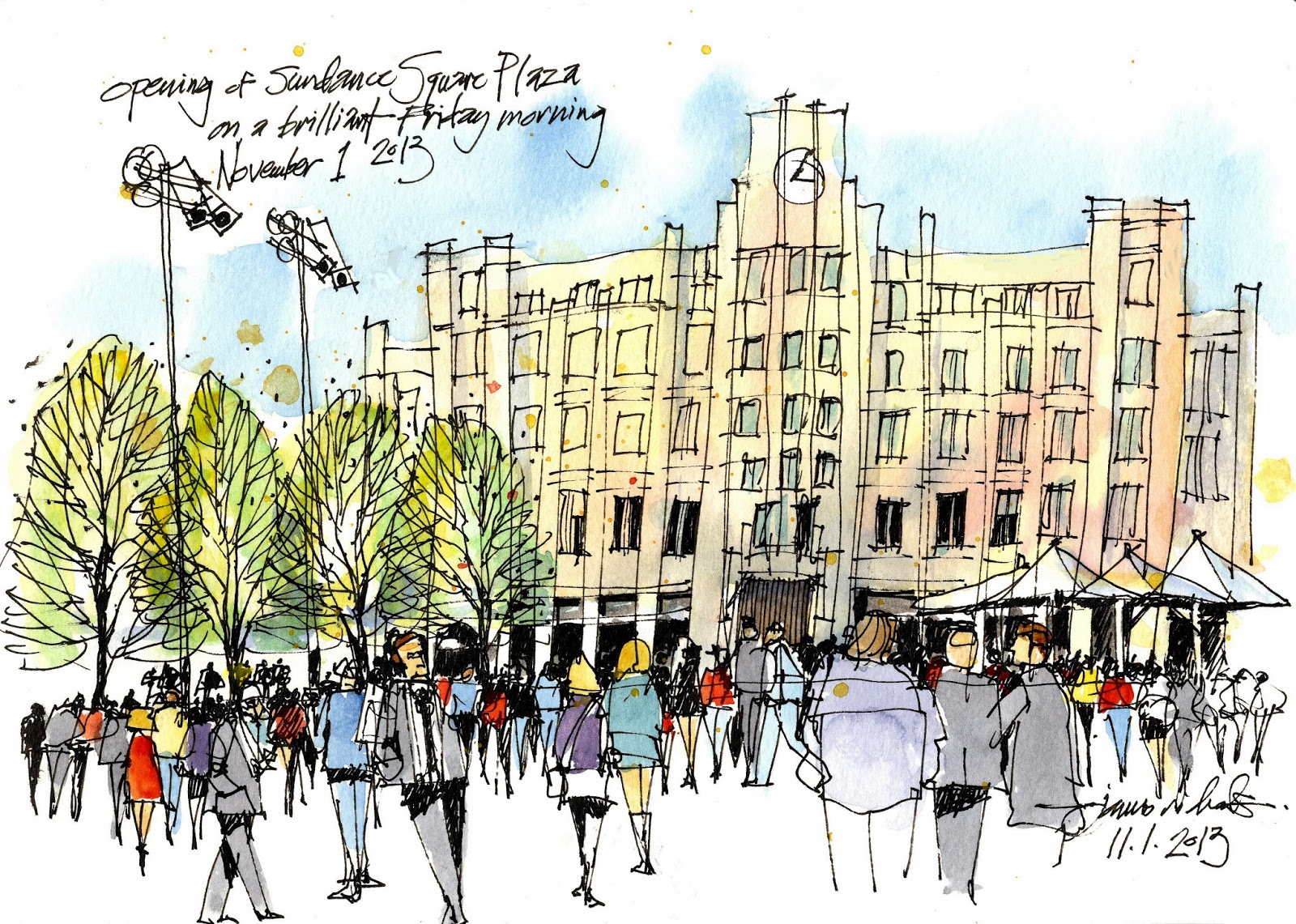 Urban sketchers texas sundance square plaza opens in for Grand home designs fort worth
