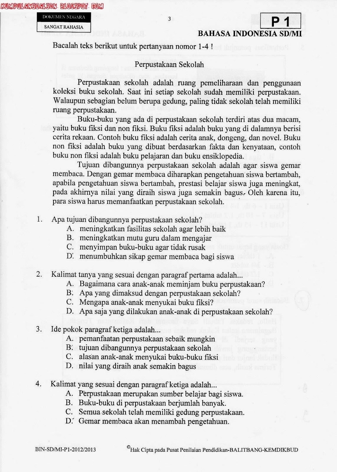 Soal Un Utama Bahasa Indonesia Ta 2012 2013 Portal Download