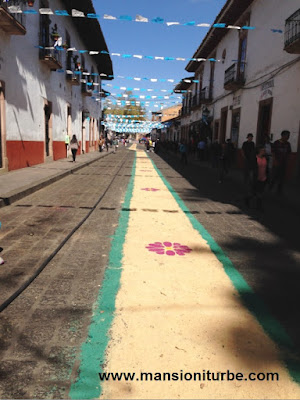 Iturbe Street in Patzcuaro during the celebrations of the Virgin of Health