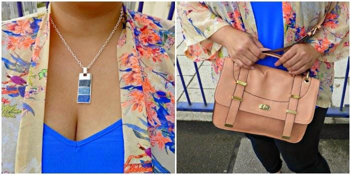three blue stone necklace