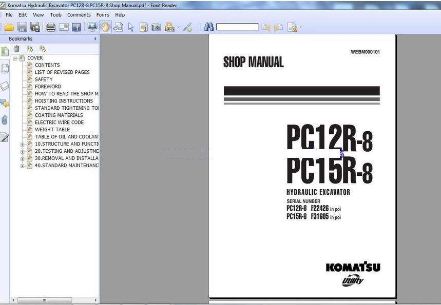 komatsu pc12r 8 pc15r 8 shop manual